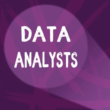 Handwriting text Data Analysts. Conceptual photo Programmer Design and Create Report Identifies patterns Abstract Violet Monochrome of Disarray Smudge and Splash of Paint Pattern
