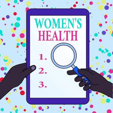 Writing note showing Women S Health. Business concept for Women s is physical health consequence avoiding illness Hands Holding Magnifying Glass Against Switched Off Touch Screen Tablet Stockfoto