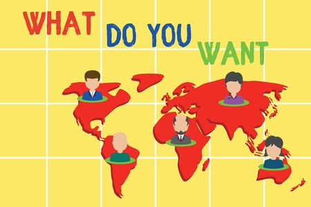 Word writing text What Do You Want. Business photo showcasing used for offering something to someone or asking their need Connection multiethnic persons all over world. Global business earth map Banco de Imagens - 130362135