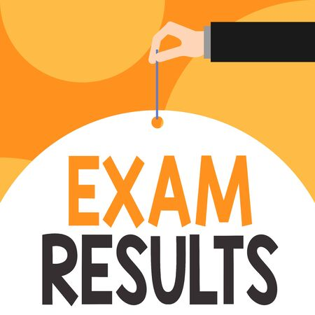 Text sign showing Exam Results. Business photo showcasing An outcome of a formal test that shows knowledge or ability Male hand arm needle punching big half blank balloon geometrical background