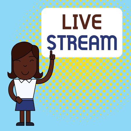 Conceptual hand writing showing Live Stream. Concept meaning transmit or receive video and audio coverage over Internet Woman Standing with Raised Left Index Finger Pointing at Box