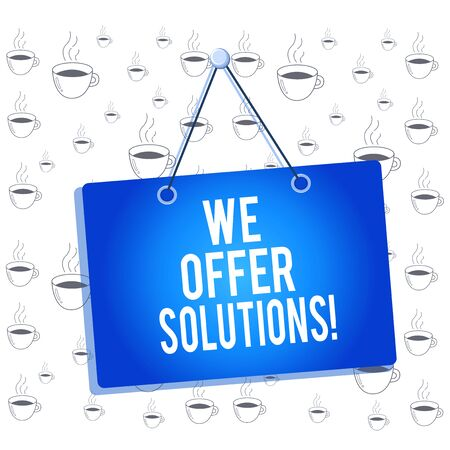 Writing note showing We Offer Solutions. Business concept for way to solve problem or deal with difficult situation Memo reminder empty board attached background rectangle