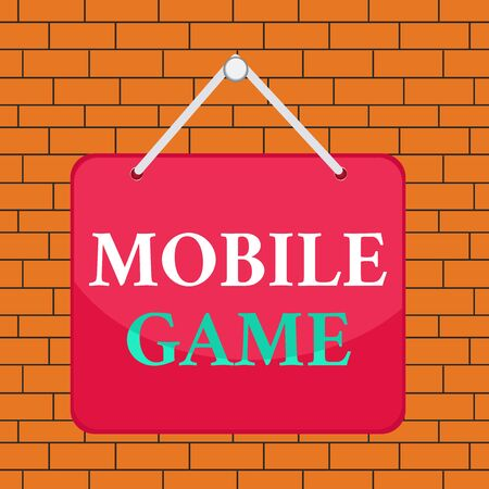 Text sign showing Mobile Game. Business photo showcasing they are entertaining programs made to work on smart device Colored memo reminder empty board blank space attach background rectangle
