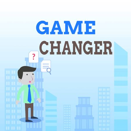 Writing note showing Game Changer. Business concept for Sports Data Scorekeeper Gamestreams Live Scores Team Admins Young Male Businessman Worker Searching Problem Solution