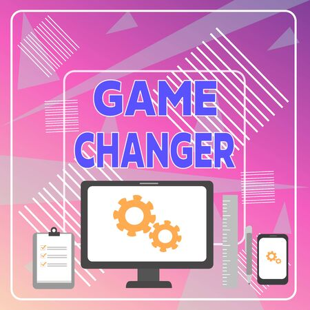 Word writing text Game Changer. Business photo showcasing Sports Data Scorekeeper Gamestreams Live Scores Team Admins Business Concept PC Monitor Mobile Device Clipboard Ruler Ballpoint Pen
