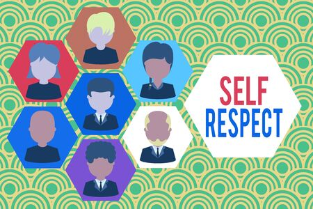 Writing note showing Self Respect. Business concept for Pride and confidence in oneself Stand up for yourself Picture frames CEO and staff Organization employee structure