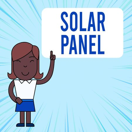 Text sign showing Solar Panel. Business photo showcasing designed to absorb suns rays source of energy generating Woman Standing with Raised Left Index Finger Pointing at Blank Text Box