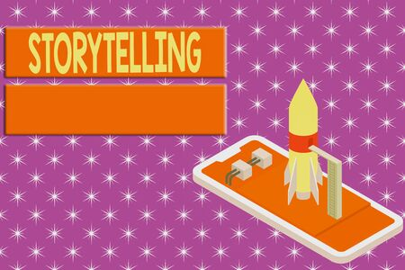 Writing note showing Storytelling. Business concept for social and cultural Activity with Theatrical Gestures Ready to launch rocket lying smartphone. Startup negotiations to begin