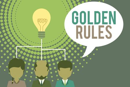 Word writing text Golden Rules. Business photo showcasing Basic principle that should be followed Important Principle Group three executive persons sharing idea icon. Startup team meeting