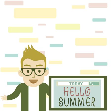 Writing note showing Hello Summer. Business concept for Welcoming the warmest season of the year comes after spring Male Speaker Monitor with Search Tool on Screen Presentation or Report