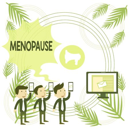Text sign showing Menopause. Business photo text Period of peranalysisent cessation or end of menstruation cycle SMS Email Marketing Media Audience Attraction Personal Computer Loudspeaker