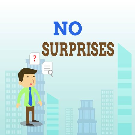 Writing note showing No Surprises. Business concept for Presupposed Eventual Destined Traditional Set The Usual Young Male Businessman Worker Searching Problem Solution