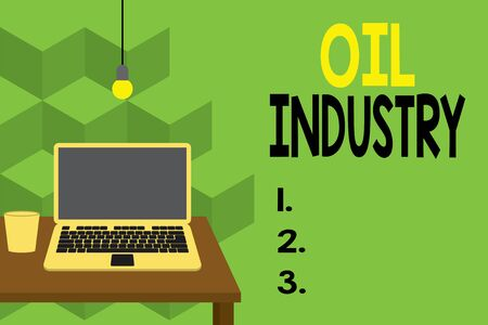 Text sign showing Oil Industry. Business photo text Exploration Extraction Refining Marketing petroleum products Front view open laptop lying on wooden desktop light bulb falling glass