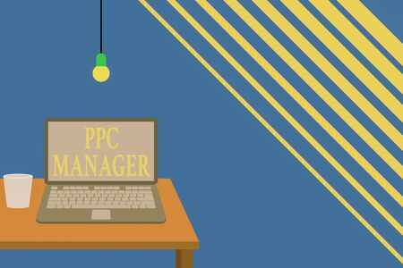 Writing note showing Ppc Manager. Business concept for which advertisers pay fee each time one of their ads is clicked Front view open laptop lying on wooden desktop light bulb falling glass