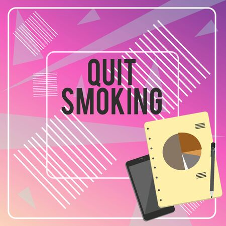 Conceptual hand writing showing Quit Smoking. Concept meaning Discontinuing or stopping the use of tobacco addiction Layout Smartphone Off Ballpoint Notepad Business Pie Chart 版權商用圖片