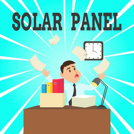 Text sign showing Solar Panel. Business photo showcasing designed to absorb suns rays source of energy generating Confused Male Employee Manager Cluttered Workspace Overflow Time Shortage