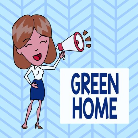 Word writing text Green Home. Business photo showcasing An area filled with plants and trees where you can relax Young Woman Speaking into Blowhorn Volume Icon Colored Backgdrop Text Box Imagens