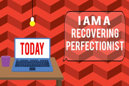 Writing note showing I Am A Recovering Perfectionist. Business concept for Obsessive compulsive disorder recovery Front view open laptop lying on wooden desktop light bulb falling glass