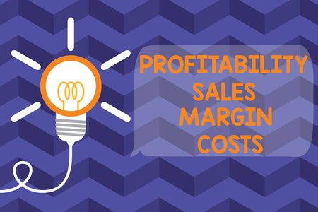 Text sign showing Profitability Sales Margin Costs. Business photo text Business incomes revenues Budget earnings Big idea light bulb. Successful turning idea invention innovation. Startup