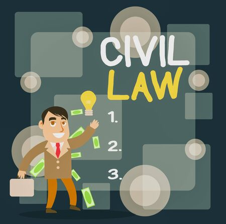 Writing note showing Civil Law. Business concept for Law concerned with private relations between members of community Successful Businessman Generating Idea or Finding Solution