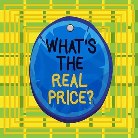 Text sign showing What S The Real Price Question. Business photo showcasing Give actual value of property or business Oval plank rounded pinned wooden board circle shaped wood nailed background Imagens