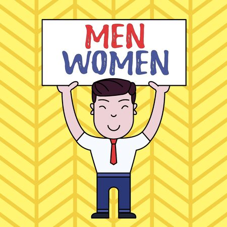 Text sign showing Men Women. Business photo showcasing The state where in a boy or a girl turns to be a mature adult Smiling Man Standing Holding Big Empty Placard Overhead with Both Hands 免版税图像
