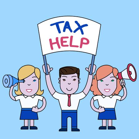 Conceptual hand writing showing Tax Help. Concept meaning Assistance from the compulsory contribution to the state revenue People with Banner, Megaphone and Spy Glass Demonstration