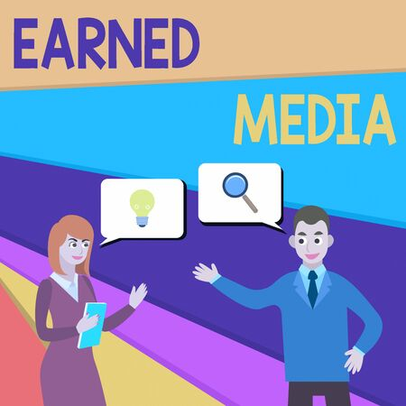 Text sign showing Earned Media. Business photo showcasing publicity gained through promotional efforts other than paid Business Partners Colleagues Jointly Seeking Problem Solution Generate Idea