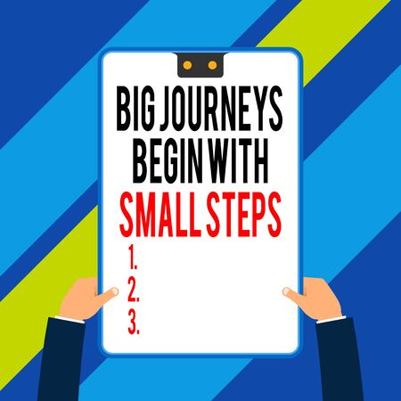 Word writing text Big Journeys Begin With Small Steps. Business photo showcasing One step at a time to reach your goals Two executive male hands holding electronic device geometrical background