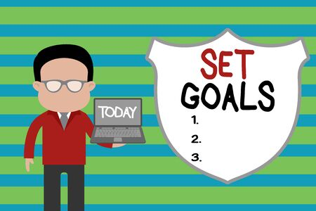 Conceptual hand writing showing Set Goals. Concept meaning Defining or achieving something in the future based on plan Man in suit wearing eyeglasses holding open laptop photo Art