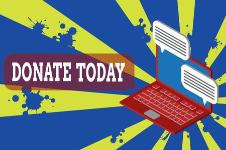 Writing note showing Donate Today. Business concept for time to give money or goods to help a demonstrating or organization Laptop receiving sending information internet wireless Stock Photo