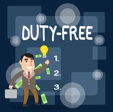 Writing note showing Duty Free. Business concept for Store or establisbhement that sells imported products witout tax Successful Businessman Generating Idea or Finding Solution Banco de Imagens