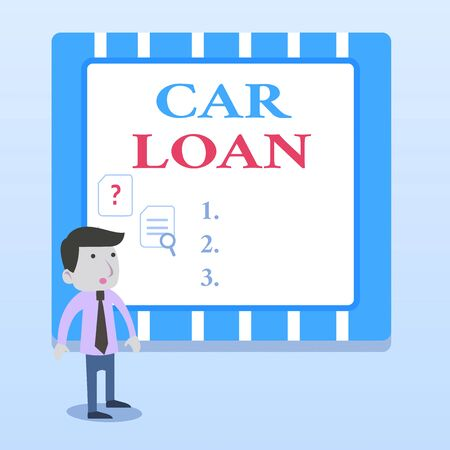 Word writing text Car Loan. Business photo showcasing taking money from bank with big interest to buy new vehicle Young Male Businessman Office Worker Standing Searching Problem Solution