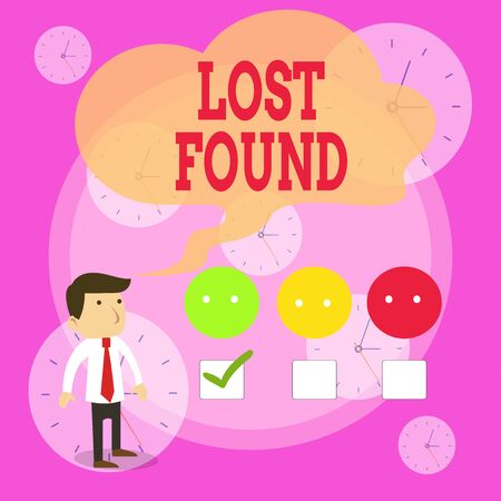 Writing note showing Lost Found. Business concept for Things that are left behind and may retrieve to the owner White Questionnaire Survey Choice Satisfaction Green Tick