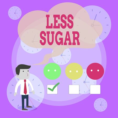 Writing note showing Less Sugar. Business concept for Lower volume of sweetness in any food or drink that we eat White Questionnaire Survey Choice Satisfaction Green Tick