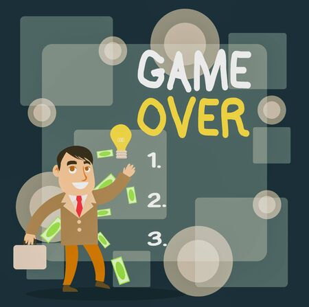 Writing note showing Game Over. Business concept for A situation in a particular sport that reach his finals or ending Successful Businessman Generating Idea or Finding Solution Imagens