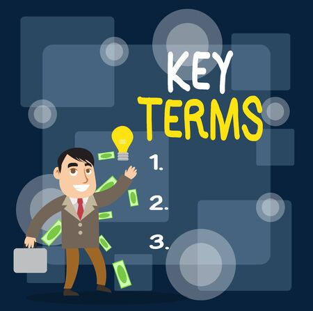 Writing note showing Key Terms. Business concept for Words that can help a demonstrating in searching information they need Successful Businessman Generating Idea or Finding Solution Imagens