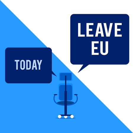 Text sign showing Leave Eu. Business photo text An act of a demonstrating to leave a country that belongs to Europe Executive chair sharing two blank square speech bubbles right left side Stock fotó