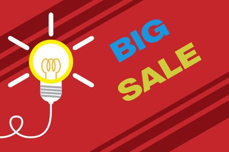 Conceptual hand writing showing Big Sale. Concept meaning putting products on high discount Great price Black Friday Idea light bulb Successful turning idea invention Startup