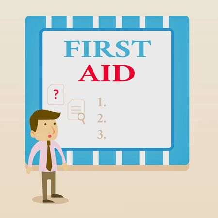 Word writing text First Aid. Business photo showcasing Practise of healing small cuts that no need for medical training Young Male Businessman Office Worker Standing Searching Problem Solution