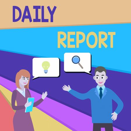 Text sign showing Daily Report. Business photo showcasing document containing information of of activities done ina day Business Partners Colleagues Jointly Seeking Problem Solution Generate Idea