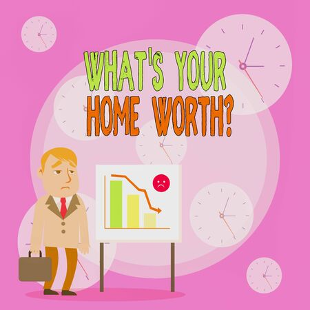 Writing note showing What S Your Home Worth Question. Business concept for Value of a house Property Cost Price Rate Businessman with Brief Case Standing Whiteboard Bar Chart