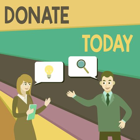 Text sign showing Donate Today. Business photo showcasing time to give money or goods to help a demonstrating or organization Business Partners Colleagues Jointly Seeking Problem Solution Generate Idea Stock Photo