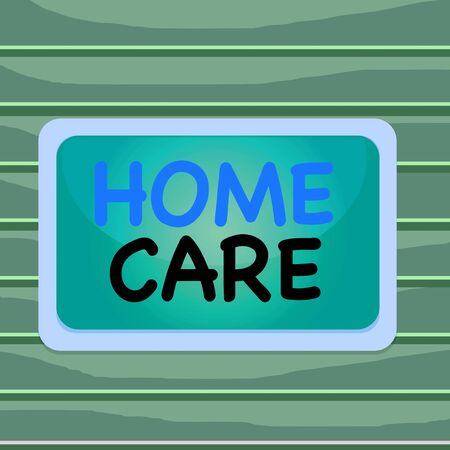 Conceptual hand writing showing Home Care. Concept meaning Place where showing can get the best service of comfort rendered Board rectangle white frame empty fixed color surface plank Stok Fotoğraf