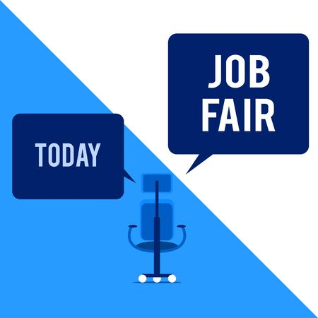 Text sign showing Job Fair. Business photo text An event where a demonstrating can apply for a job in multiple companies Executive chair sharing two blank square speech bubbles right left side