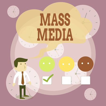Writing note showing Mass Media. Business concept for Group showing making news to the public of what is happening White Questionnaire Survey Choice Satisfaction Green Tick