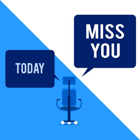 Text sign showing Miss You. Business photo text Longing for an important demonstrating in your life for a period of time Executive chair sharing two blank square speech bubbles right left side