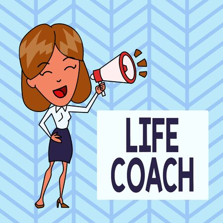 Word writing text Life Coach. Business photo showcasing A demonstrating who advices clients how to solve their problems or goals Young Woman Speaking into Blowhorn Volume Icon Colored Backgdrop Text Box Фото со стока