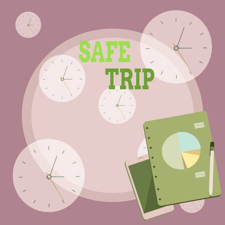 Writing note showing Safe Trip. Business concept for wishing someone to reach his destination in good health Layout Smartphone Off Ballpoint Notepad Business Pie Chart
