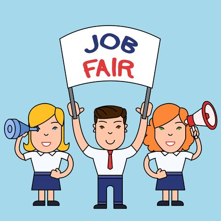 Conceptual hand writing showing Job Fair. Concept meaning An event where a demonstrating can apply for a job in multiple companies People with Banner, Megaphone and Spy Glass Demonstration